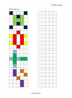 Nakleuren: deze werkbladen zijn ontwikkeld om het visuele inzicht van de kleuters (groep 1/2) te verbeteren. De kinderen moeten de figuren in de juiste kleuren natekenen. Ze moeten hiervoor tellen, vergelijken en meten.