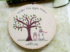 Embroidery Pattern PDF Apple Tree Mom Daughter by sewjenaissance