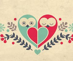 """My Owl Barn - Heart."" Would I be terrible to paint this on canvas in my own art style?I love owls, and I think it's adorable that the two of them make a heart."