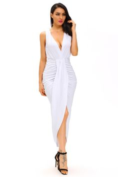 Robes Longues Blanc Robe Drapee Avant Slit