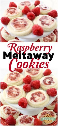 Raspberry Meltaway Cookies just melt in your mouth! Soft dough made with cornstarch and powdered sugar compliments these raspberry cookies beautifully. Perfect topped with a simple almond glaze swirled with raspberry jam. #raspberry #cookies #meltaway #cookie #raspberries #dessert #baking #Recipe from FAMILY COOKIE RECIPES
