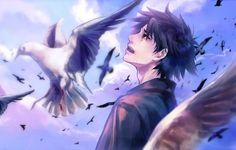 Wallpaper ambition never be, art, guy, anime, birds, fate zero ...