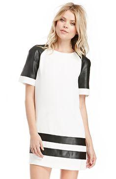 Finders Keepers Vegan Leather Parodie Dress in Black / White XS - L | DAILYLOOK