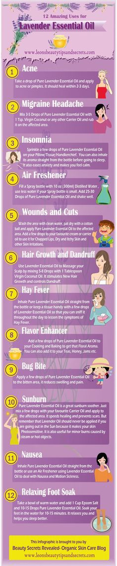 Infographic- 12 Amazing Uses For Lavender Essential Oil #oils4everyone
