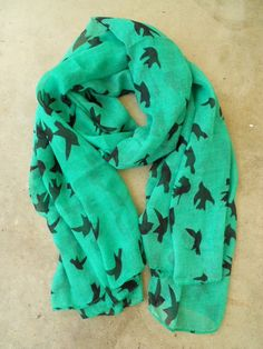 Sparrows in Flight Verte Scarf, $16