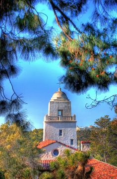 The Junipero Serra Museum tower from the top of Presidio Park in San Diego California. By Paul Koester.