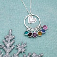 *NEW* Just listed in my Etsy shop! Cute heart necklace personalized with birthstones!