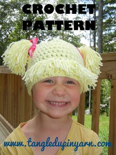 Cabbage patch kid, crochet hat pattern