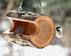Cordwood rustic and natural bird feeder.