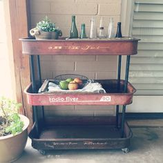 Awesome vintage wagons repurposed into a rolling cart