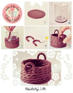Fondant basket tutorial (via Sulia).DIY Clay Basket cute decor creative diy craft handmade diy ideas diy crafts do it yourself easy diy diy tips decorative easy crafts home crafts home diypolymer clay basket - would be good to fill with goodies for t Cake Decorating Techniques, Cake Decorating Tutorials, Decorating Supplies, Decorating Ideas, Fondant Toppers, Fondant Cakes, Fondant Baby, Cupcake Toppers, Diy Cupcake