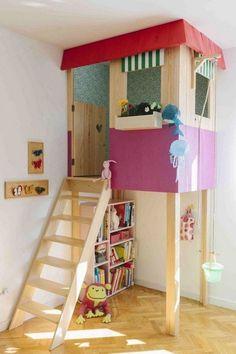 Creative indoor playhouse. Great idea to bring the fun indoors.