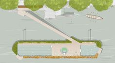 Studio Octopi Proposes Floating Swimming Pool in the Thames,Plan of the design at Victoria Embankment. Image © Studio Octopi / Picture Plane