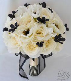17pcs Wedding Bridal Bouquet Silk Flower Decoration Package Black Ivory Anemone | eBay