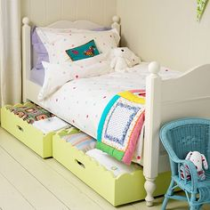 Bright under-bed storage for girl's bedroom