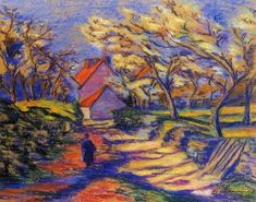 french impressionist paintings | Armand Guillaumin Village Street - French Impressionist Oil Painting