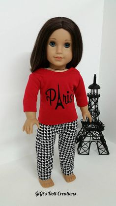 Dress Beret Hat Eiffel Tower Design Jewelry for 18 in American Girl Doll Clothes