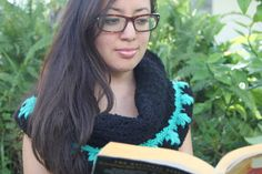 My sister modeling a new product by me. Infinity scarf by VeesAccessories on Etsy, $15.00