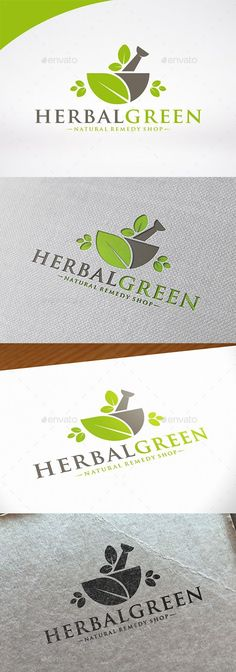 Herbal Medicine Logo Template by BossTwinsMusic  Three color version: color gr