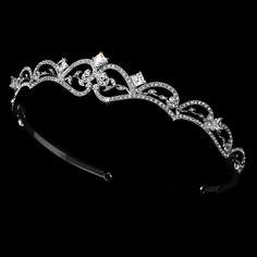 Antique-Silver-Clear Anitque Silver Clear Bridal Tiara HP 179