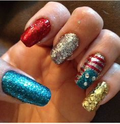 Fourth of July manicure patriotic red white blue gold glitter flag freehand mine nails mani long