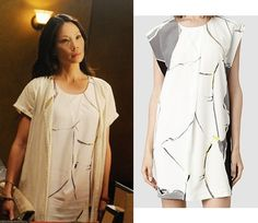 joan watson elementary season 3 premire white torn print dress lucy liu