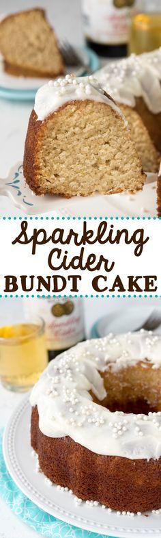 Espumoso de sidra de manzana Pastel - esta receta fácil utiliza espumosos sidra de manzana en cada parte de la receta!  Perfecto para una fiesta!