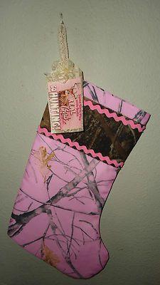 Handmade Pink Camo Christmas stocking real girls go hunting