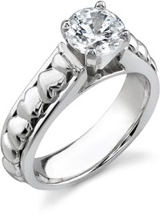 0.62 Carat Diamond Heart Engagement Ring, 14K White Gold