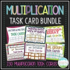 Multiplication Task Card Bundle: A set of 230 Task Cards for your students to practice multiplication (and a few division) skills. This is a bundle of my 7 Multiplication Task Card products. Multi Digit Multiplication, Learning Multiplication, Teaching Math, Teaching Resources, Teacher Must Haves, Third Grade Math, Math Task Cards, Word Problems, Math Activities