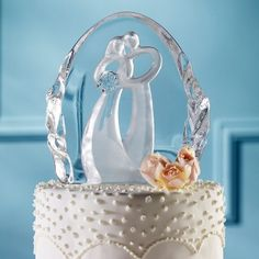 Symbol of Love Wedding Cake Topper | Glass Couple Wedding Cake Top