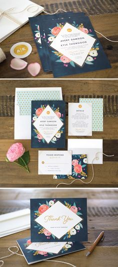 Flirty, Floral Beauty: Painterly Blooms Invitation Suite