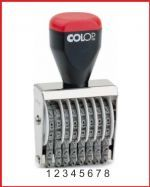 nesamobarvící číslovací razítka Colop, výška otisku čísel může být v rozmezí od 3 do 18 mm, http://www.vyroba-razitek-praha.eu/?razitka-cislovaci-paskova,29 - před otiskem nutno namočit do razítkové podušky s barvou