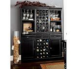 For dining room - design for wine, glassware, wine fridge, cocktail supplies, and table space for parties