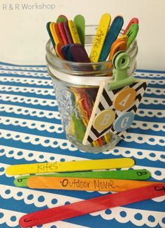 R & R Workshop: ABC Summer Activity Jar -- Easily customized for grown-up activities (or dates) too! Babysitting Activities, Babysitting Fun, Summer Activities For Kids, Fun Activities For Kids, Summer Kids, Craft Activities, Nanny Activities, Summer Games, Preschool Ideas