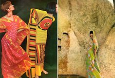 L) Both models are wearing gandurah, a shirtlike, ankle-length dress. The prints are Kenyan. Photo from Vogue, July, 1966. (R) A Ferdinando Sarmi ensemble photographed by Henry Clarke, 1966. The Caftan | shrimptoncouture.com