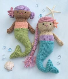 This listing is for a digital download of my original Knit Mermaid Doll Pattern. I have included row by row instructions, with lots of photos to help you knit these up. Mermaid Dolls measures 10 inches long. Materials- Worsted weight yarn Poly fill stuffing Pair of size 4 (U.S.) knitting needles Yarn needle 2 pair 6.00 black safety eyes Thread or yarn for embroidery of face. Knitting Skills required: Knit Purl Casting on and Casting off K2tog- decrease P2tog- decrease Increasing This patt...