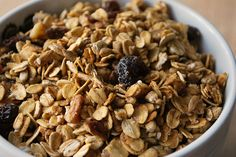 Applesauce Granola - very little oil, uses applesauce instead.  So excited to try this!!