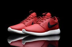pretty nice c725c 65f42 Cheap Nike Women Men Shoes - Discount Nike Roshe Run Two Leather Red Black  For Sale