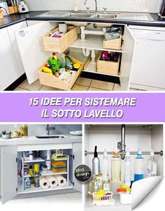 How to store under the sink in the kitchen! Here are 15 inspirational ideas. Kitchen Cabinetry, Kitchen Pantry, Kitchen Cart, Kitchen Organization, Bathroom Medicine Cabinet, Sweet Home, Cleaning, Storage, House