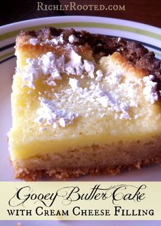 This gooey butter cake is completely from scratch, with a cream cheese filling. It's lightly crispy on the edges and deliciously chewy as you get further in.