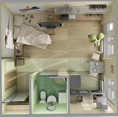 18 Coolest Studio Apartment Layout - decoratoo - One Room Apartment 10 Result - Studio Apartment Floor Plans, One Room Apartment, Studio Apartment Layout, Apartment Design, Small Apartments, Small Spaces, Decorate Studio Apartments, Small House Plans, House Layouts