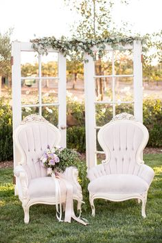 Lavender Vintage-Inspired French Chairs | Birds of a Feather | TheKnot.com