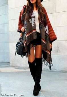 Ethnic print cape and over-the-knee boots for autumn style. #cape