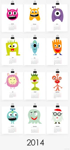 Free printable 2014 monster calendar