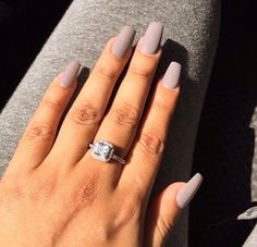 Diamond ring + nude nails