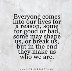 Everyone Comes into Our Lives for a Reason