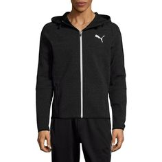 PUMA Evo Hooded Jacket ($40) ❤ liked on Polyvore featuring men's fashion, men's clothing, men's outerwear, men's jackets, black, mens jackets, mens slim fit outerwear, mens slim jacket and mens hooded jackets