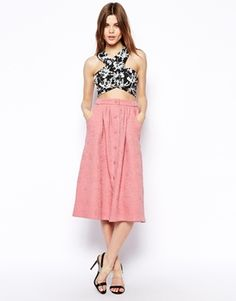 Image 1 ofASOS Midi Skirt with Button Detail in Jacquard