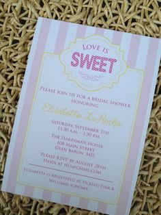 Printable  LOVE IS SWEET Bridal Shower Invitations by Oohlalovely, $15.00